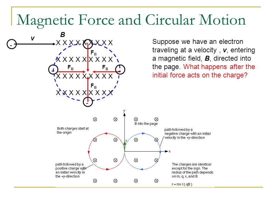 Magnetic Force and Circular Motion X X X X X X X X X v B - - FBFB FBFB FBFB FBFB - - - Suppose we have an electron traveling at a velocity, v, entering a magnetic field, B, directed into the page.