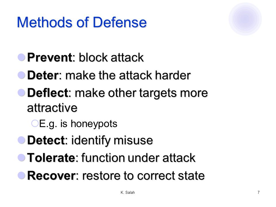 K. Salah6 Type of Attackers Amateurs: regular users, who exploit the vulnerabilities of the computer system Amateurs: regular users, who exploit the v