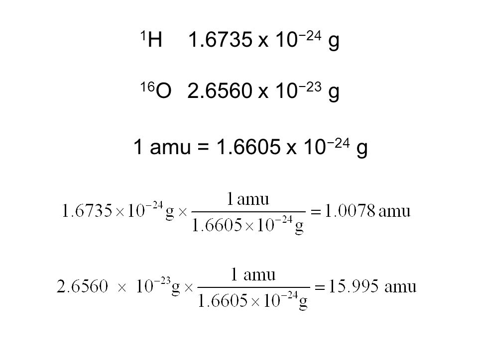 1 H1.6735 x 10 −24 g 16 O2.6560 x 10 −23 g One atomic mass unit (amu) is defined as 1/12 of the mass of a 12 C atom.