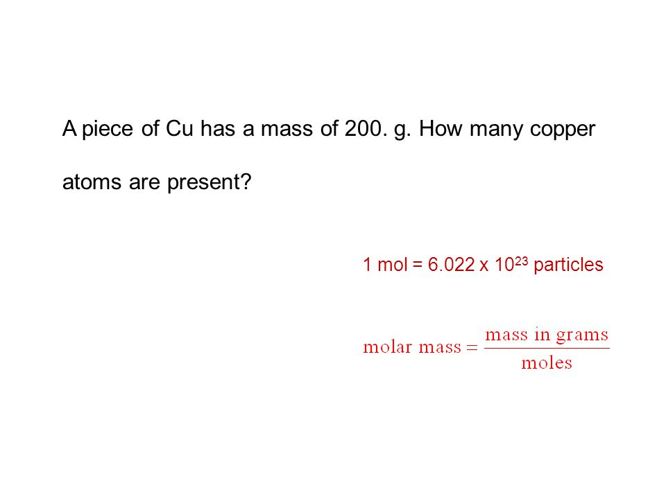 1 mol = 6.022 x 10 23 particles Unit: g/mol molar mass and Avogadro's number are exact numbers