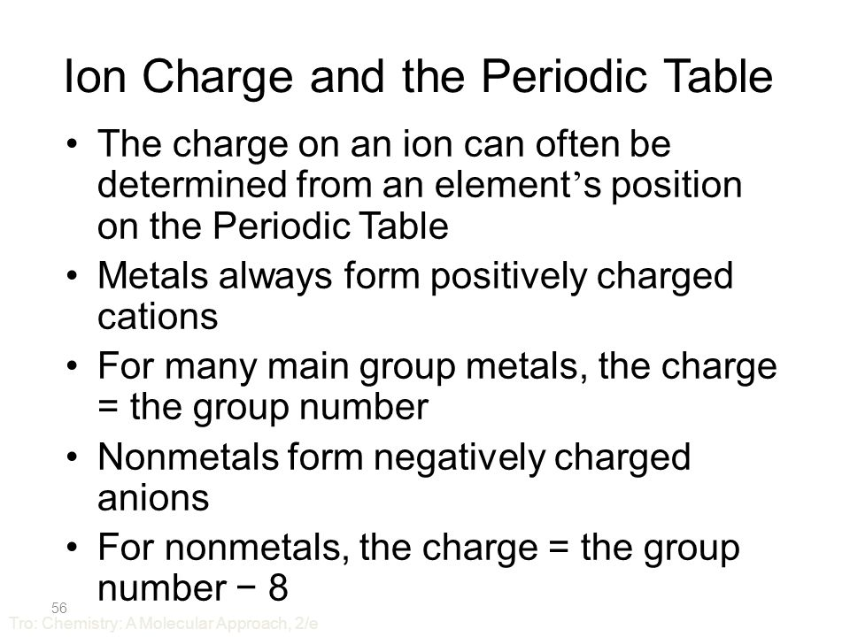 55 Important Groups – Noble Gases Group VIIIA = Noble Gases All gases at room temperature –very low melting and boiling points Very unreactive, practically inert Very hard to remove electron from or give electron to Tro: Chemistry: A Molecular Approach, 2/e