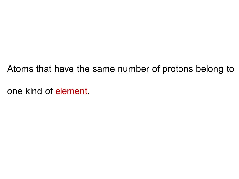 Atom Nucleus Electrons (each carries a negative charge) Protons (each carries a positive charge) Neutrons (neutral) number of electrons = number of protons = atomic number Atoms are neutral
