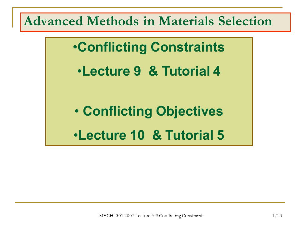 MECH4301 2007 Lecture # 9 Conflicting Constraints 32/23 There is a typographical error in textbook, Exercise E7.2, p.