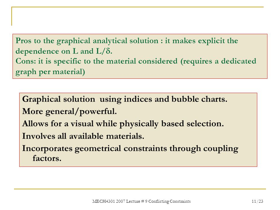 MECH4301 2007 Lecture # 9 Conflicting Constraints 11/23 Graphical solution using indices and bubble charts. More general/powerful. Allows for a visual