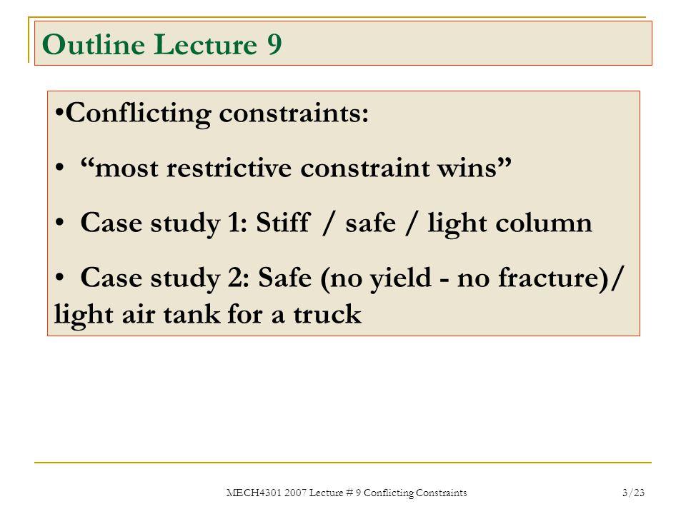 "MECH4301 2007 Lecture # 9 Conflicting Constraints 3/23 Outline Lecture 9 Conflicting constraints: ""most restrictive constraint wins"" Case study 1: Sti"
