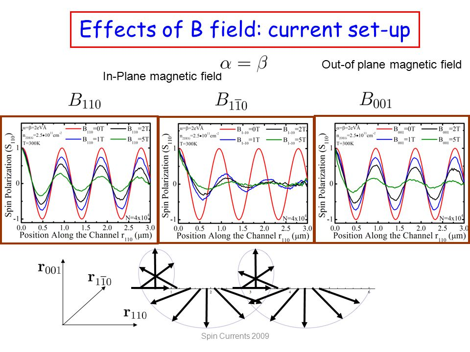 Effects of B field: current set-up Spin Currents 2009 In-Plane magnetic field Out-of plane magnetic field