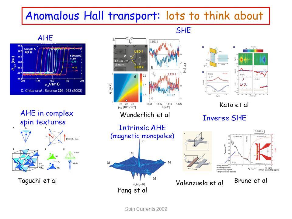 Anomalous Hall transport: lots to think about Wunderlich et al SHE Kato et al Fang et al Intrinsic AHE (magnetic monopoles) AHE Taguchi et al AHE in c