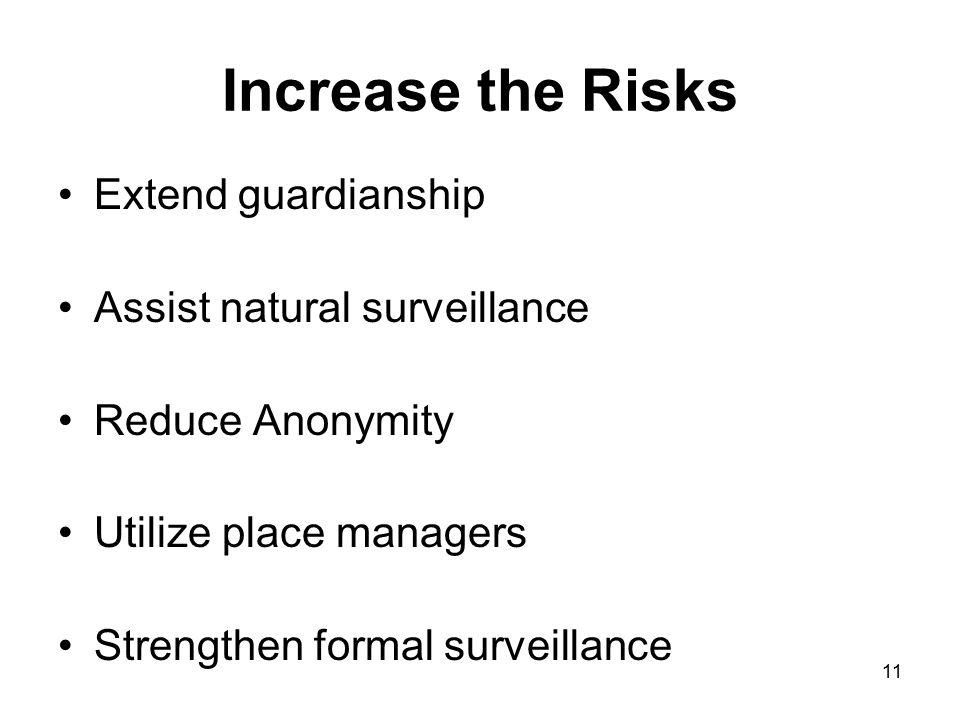 11 Increase the Risks Extend guardianship Assist natural surveillance Reduce Anonymity Utilize place managers Strengthen formal surveillance