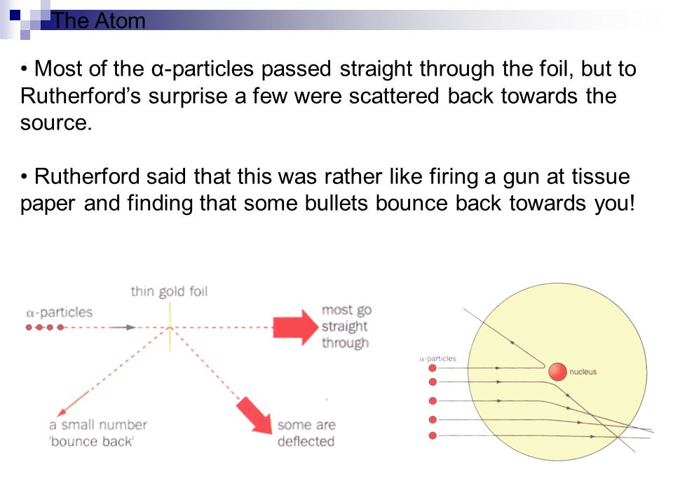 Consequences of the Rutherford's experiment All of an atom s positive charge and most of its mass is concentrated in a tiny core.