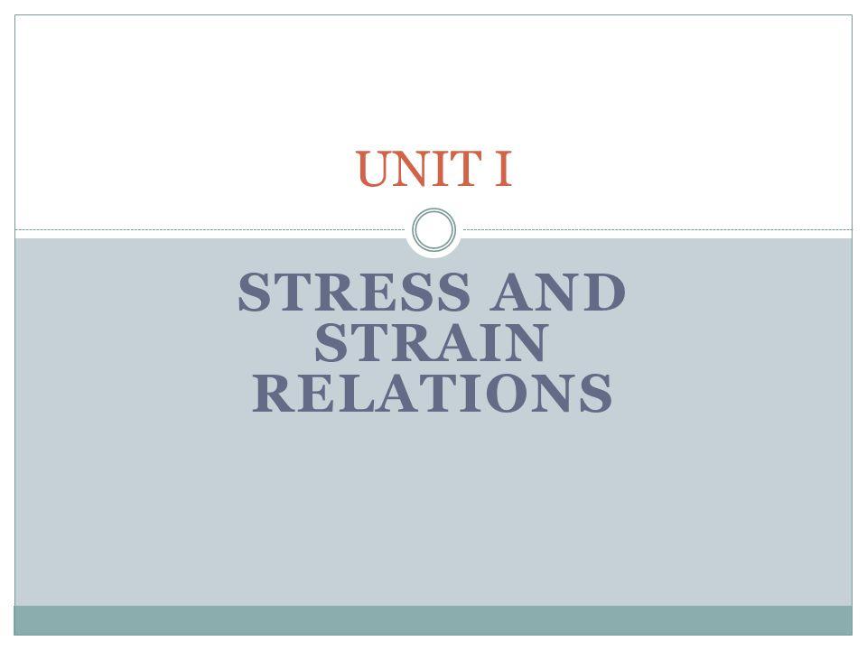 STRESS AND STRAIN RELATIONS UNIT I