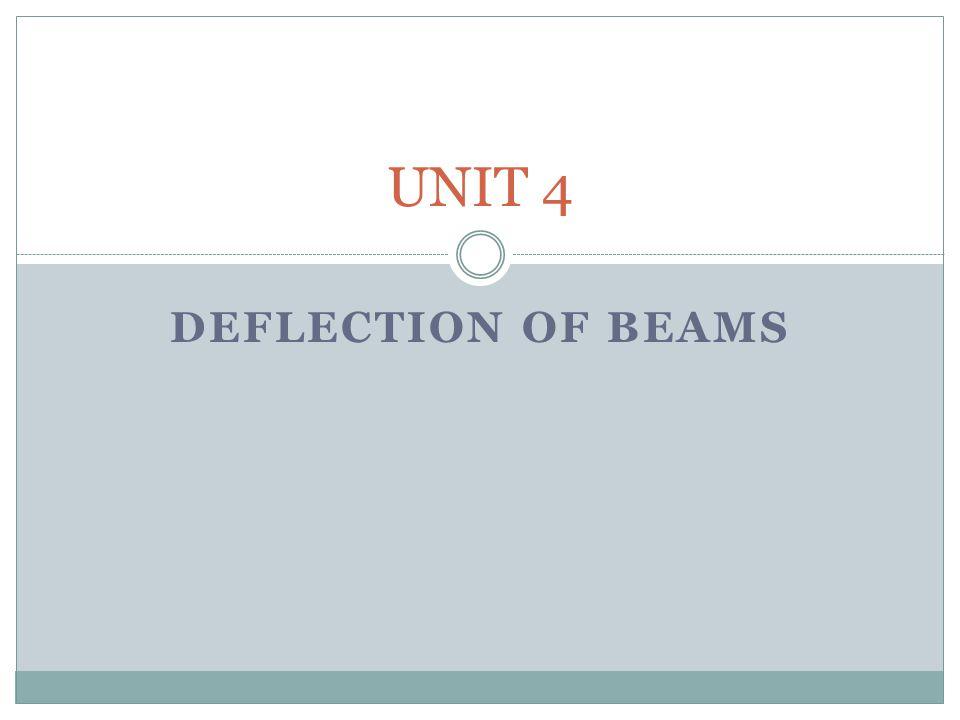 DEFLECTION OF BEAMS UNIT 4
