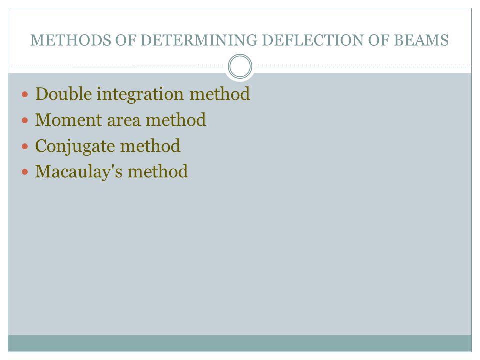 METHODS OF DETERMINING DEFLECTION OF BEAMS Double integration method Moment area method Conjugate method Macaulay's method