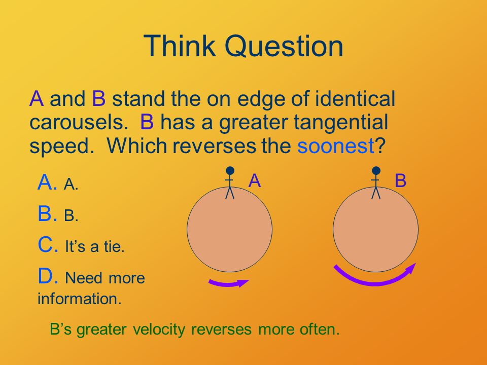 Think Question A and B stand the on edge of identical carousels.