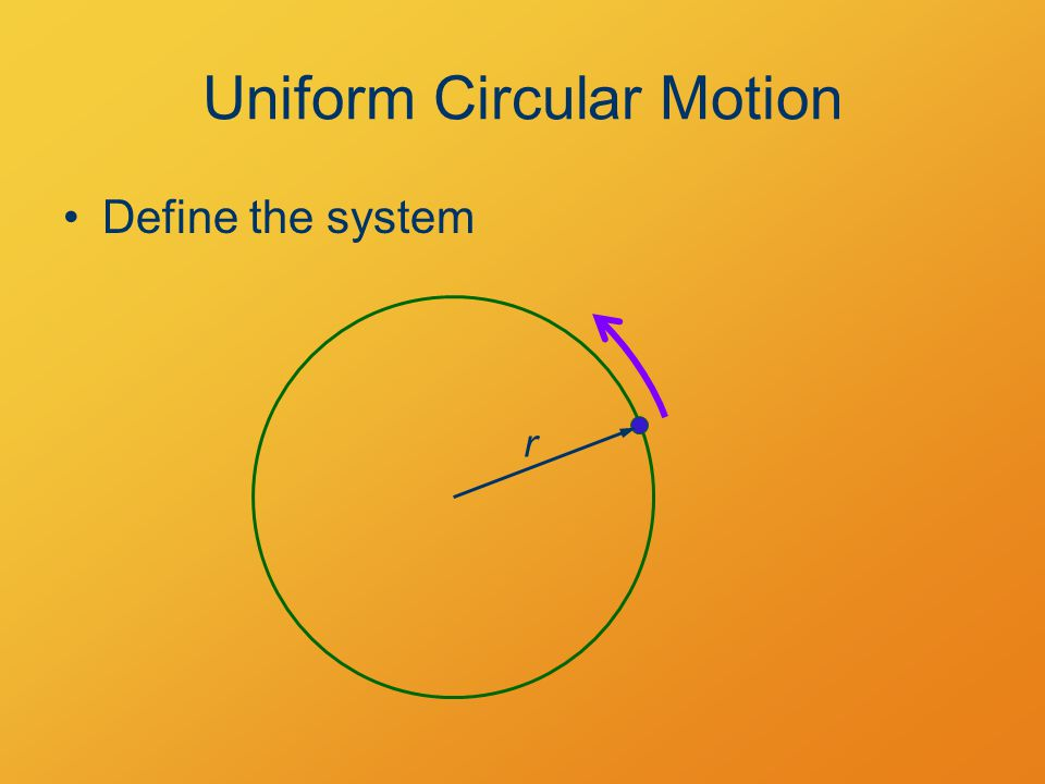 Uniform Circular Motion Define the system r
