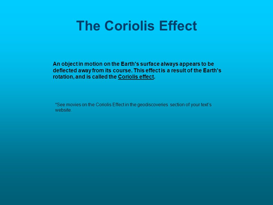 The Coriolis Effect An object in motion on the Earth s surface always appears to be deflected away from its course.