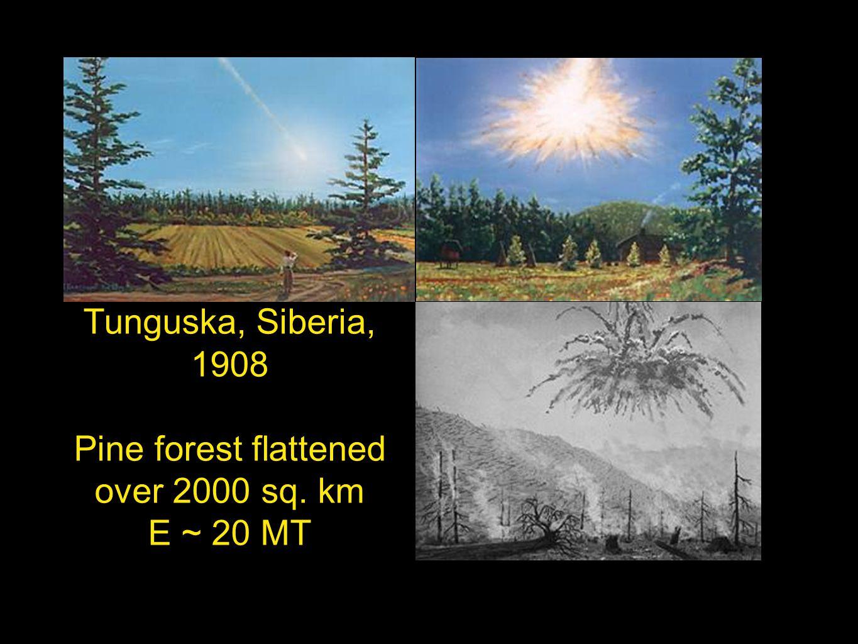 Tunguska, Siberia, 1908 Pine forest flattened over 2000 sq. km E ~ 20 MT