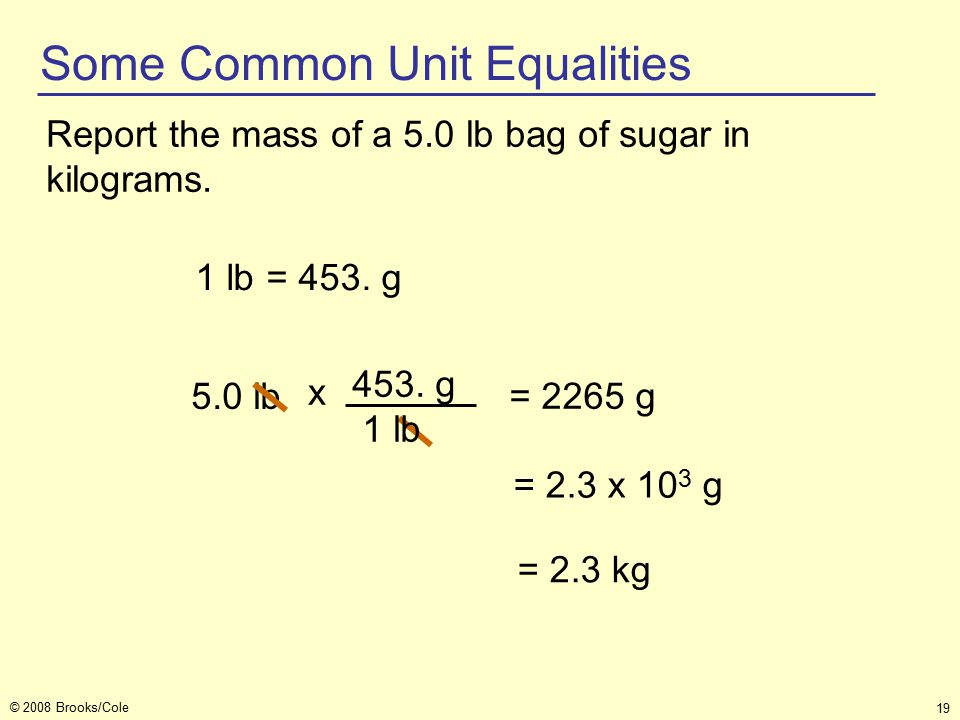 19 © 2008 Brooks/Cole 5.0 lb Report the mass of a 5.0 lb bag of sugar in kilograms.