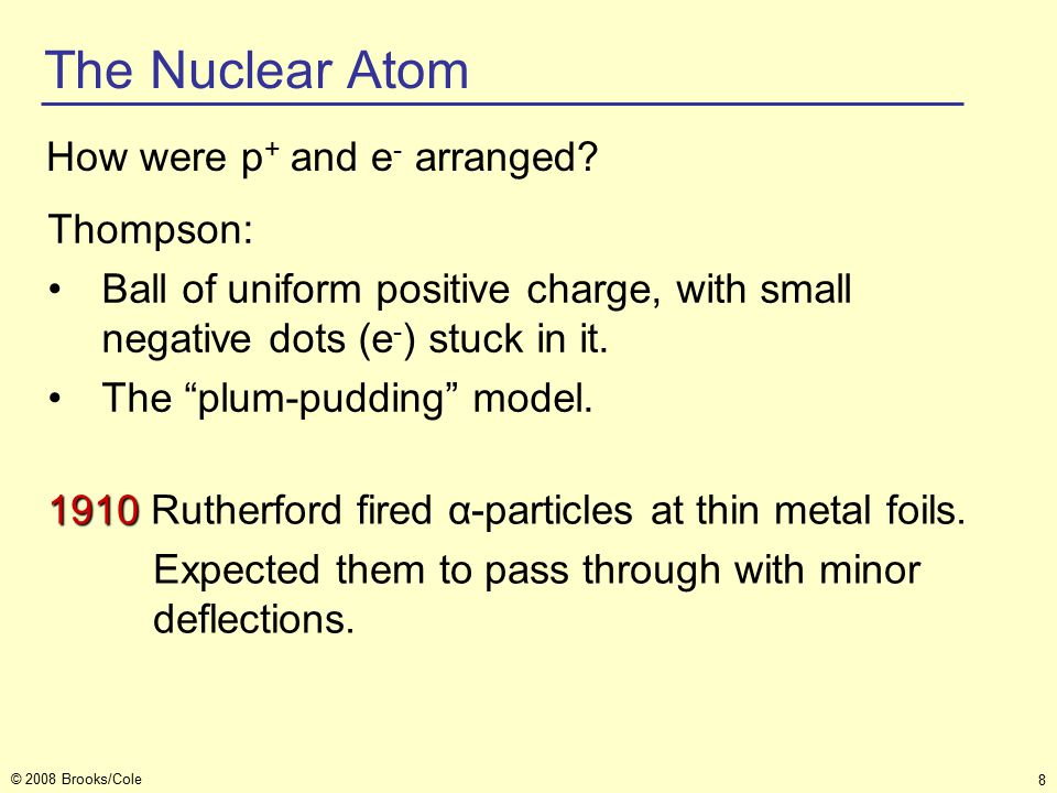 8 © 2008 Brooks/Cole The Nuclear Atom How were p + and e - arranged.