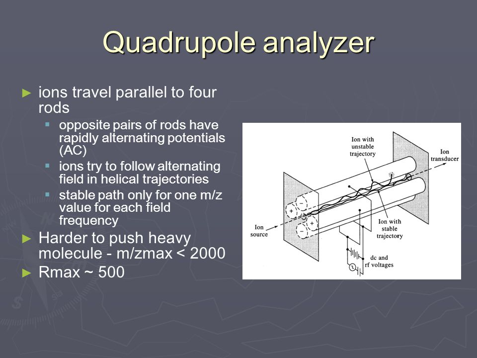 Quadrupole analyzer ► ► ions travel parallel to four rods   opposite pairs of rods have rapidly alternating potentials (AC)   ions try to follow alternating field in helical trajectories   stable path only for one m/z value for each field frequency ► ► Harder to push heavy molecule - m/zmax < 2000 ► ► Rmax ~ 500