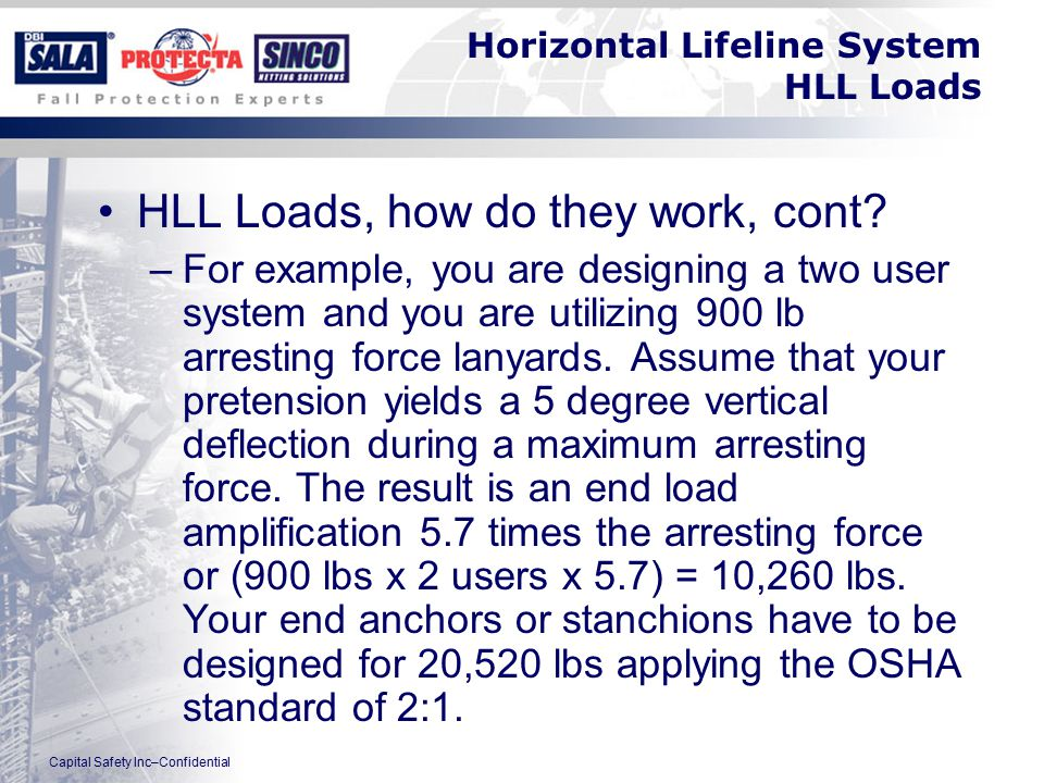Capital Safety Inc–Confidential Horizontal Lifeline System HLL Loads HLL Loads, how do they work, cont.