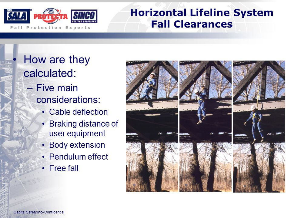 Capital Safety Inc–Confidential Horizontal Lifeline System Fall Clearances How are they calculated: –Five main considerations: Cable deflection Braking distance of user equipment Body extension Pendulum effect Free fall