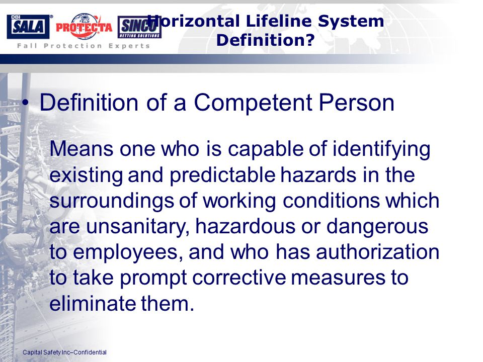 Capital Safety Inc–Confidential Horizontal Lifeline System Definition.