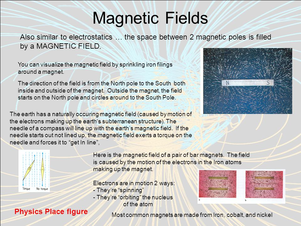 Magnetic Fields Also similar to electrostatics … the space between 2 magnetic poles is filled by a MAGNETIC FIELD.