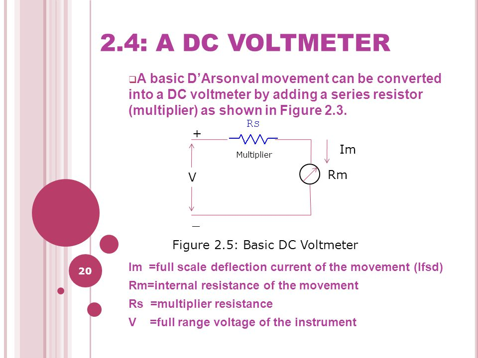 20 2.4: A DC VOLTMETER  A basic D'Arsonval movement can be converted into a DC voltmeter by adding a series resistor (multiplier) as shown in Figure 2.3.