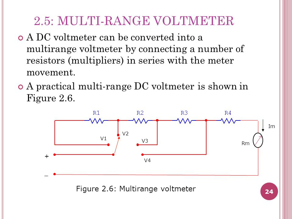 24 2.5: MULTI-RANGE VOLTMETER A DC voltmeter can be converted into a multirange voltmeter by connecting a number of resistors (multipliers) in series with the meter movement.