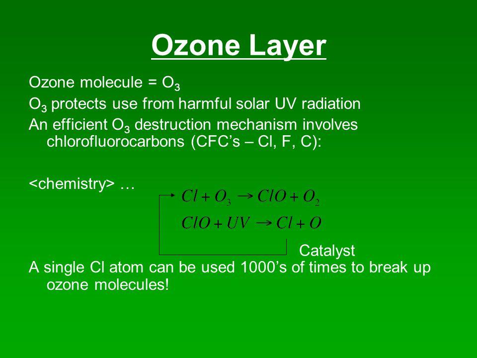 Ozone Layer Ozone molecule = O 3 O 3 protects use from harmful solar UV radiation An efficient O 3 destruction mechanism involves chlorofluorocarbons