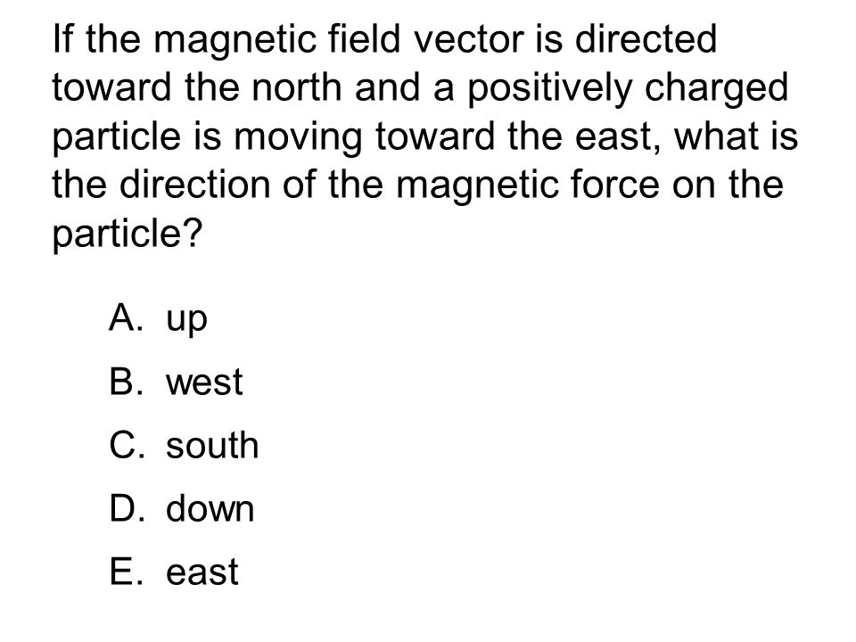 A small positively charged body is moving horizontally and westward.