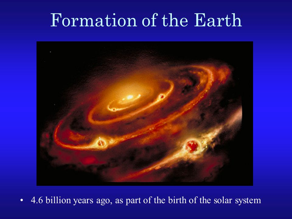 Formation of the Earth 4.6 billion years ago, as part of the birth of the solar system