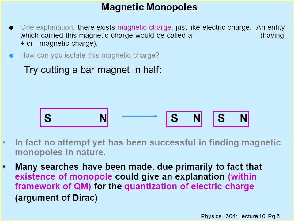 Physics 1304: Lecture 10, Pg 5 Magnetic Field Lines of a bar magnet Electric Field Lines of an Electric Dipole