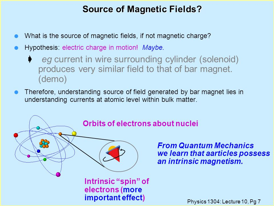 Physics 1304: Lecture 10, Pg 6 Magnetic Monopoles l One explanation: there exists magnetic charge, just like electric charge. An entity which carried