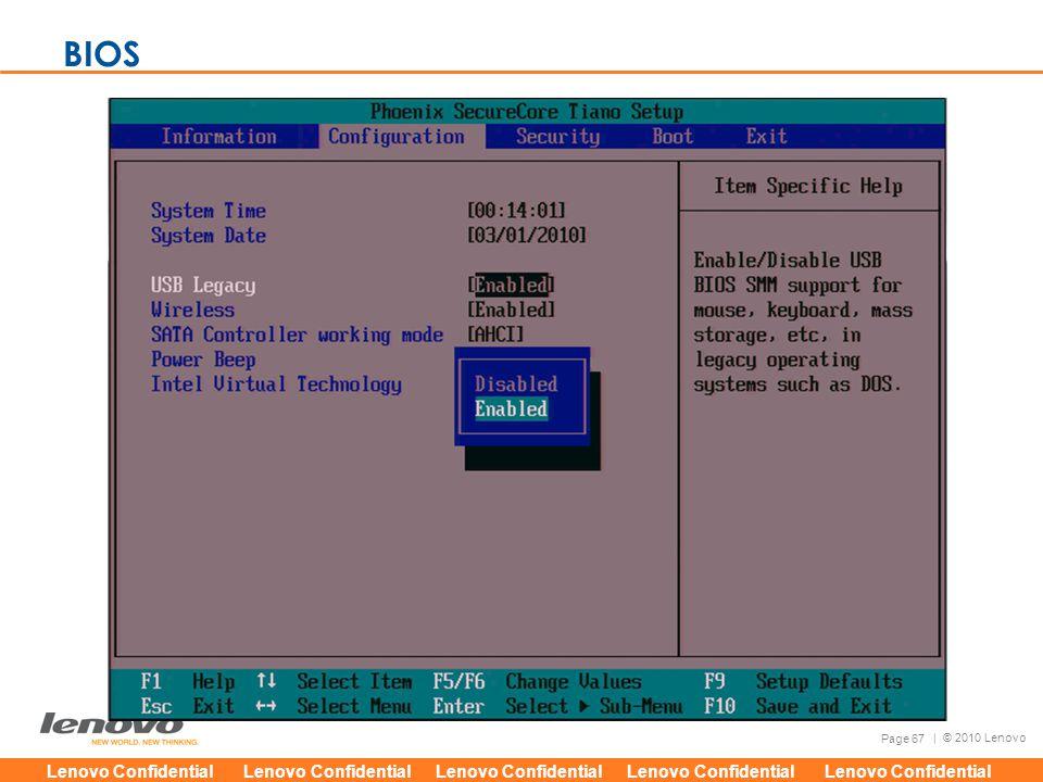 Lenovo Confidential Lenovo Confidential Lenovo Confidential Lenovo Confidential Lenovo Confidential Page 67 | © 2010 Lenovo BIOS