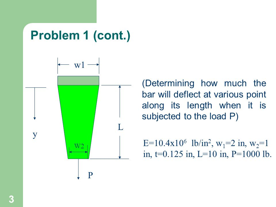 3 Problem 1 (cont.) (Determining how much the bar will deflect at various point along its length when it is subjected to the load P) L y w1 W2 P E=10.4x10 6 lb/in 2, w 1 =2 in, w 2 =1 in, t=0.125 in, L=10 in, P=1000 lb.