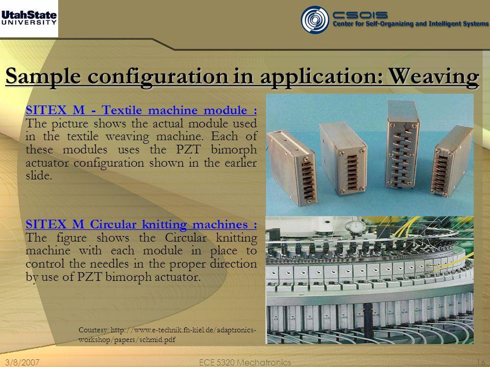 3/8/2007ECE 5320 Mechatronics16 Sample configuration in application: Weaving SITEX M - Textile machine module : The picture shows the actual module us