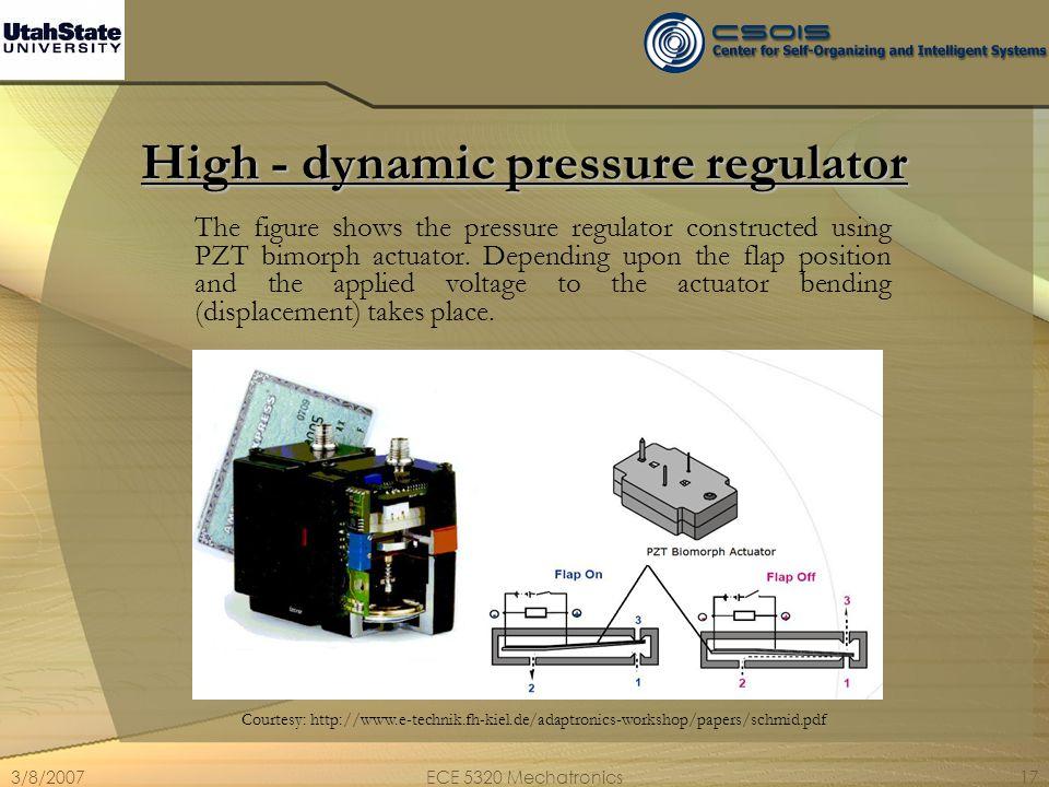 3/8/2007ECE 5320 Mechatronics17 High - dynamic pressure regulator The figure shows the pressure regulator constructed using PZT bimorph actuator. Depe