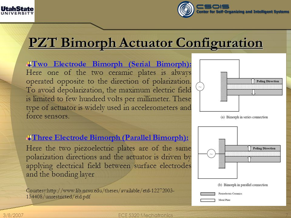 3/8/2007ECE 5320 Mechatronics8 Design of PZT Bimorph Actuators Cantilever Design: As can be seen from the figure, the cantilever design results in an uniform upward and downward motion.