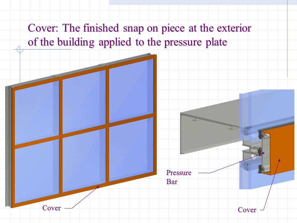 Pressure Plate: An exterior extrusion that is mechanically fastened to hold the glass in place in CURTAINWALL applications PressurePlate