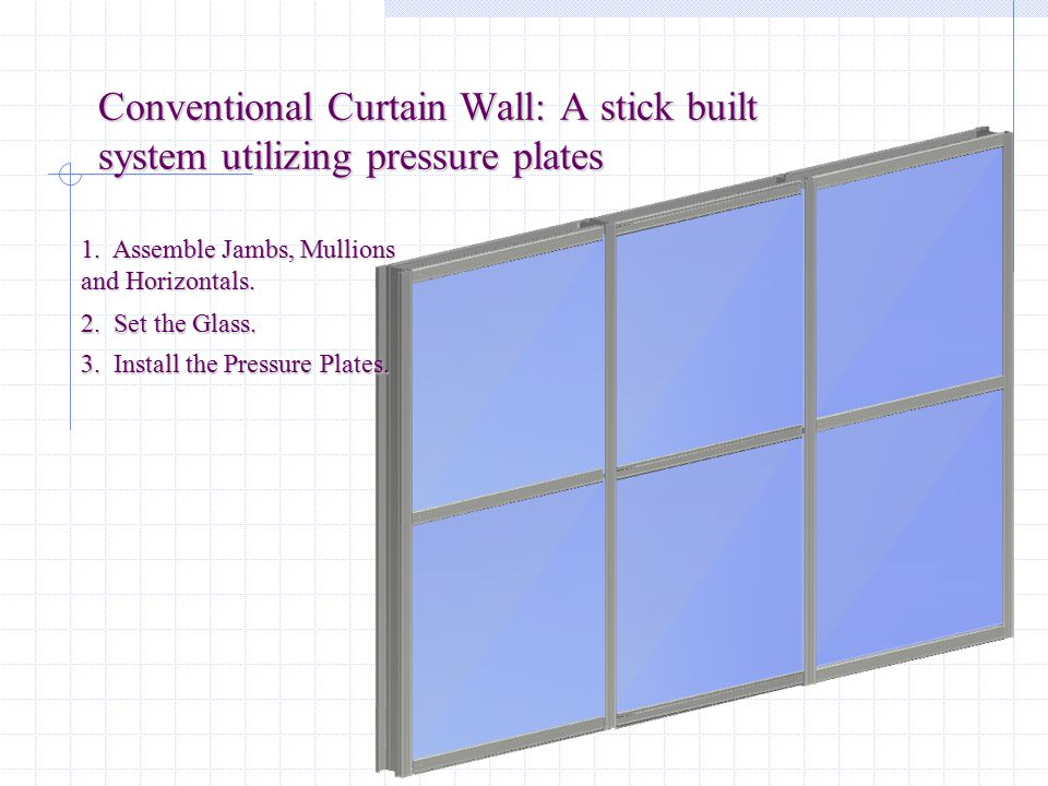 """CURTAIN WALL STICK BUILT VS. UNITIZED Stick Built Metal is field assembled (fabricated) from extrusion """"sticks"""" Metal is field assembled (fabricated)"""