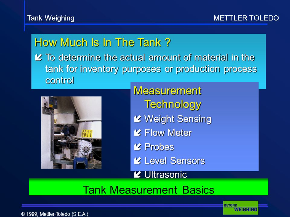 Tank Weighing METTLER TOLEDO © 1999, Mettler-Toledo (S.E.A.) How Much Is In The Tank .