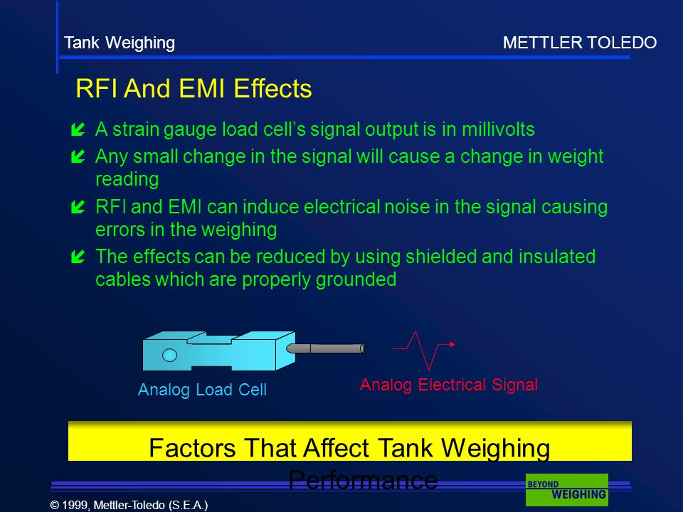Tank Weighing METTLER TOLEDO © 1999, Mettler-Toledo (S.E.A.)  A strain gauge load cell's signal output is in millivolts  Any small change in the signal will cause a change in weight reading  RFI and EMI can induce electrical noise in the signal causing errors in the weighing  The effects can be reduced by using shielded and insulated cables which are properly grounded Factors That Affect Tank Weighing Performance RFI And EMI Effects Analog Load Cell Analog Electrical Signal
