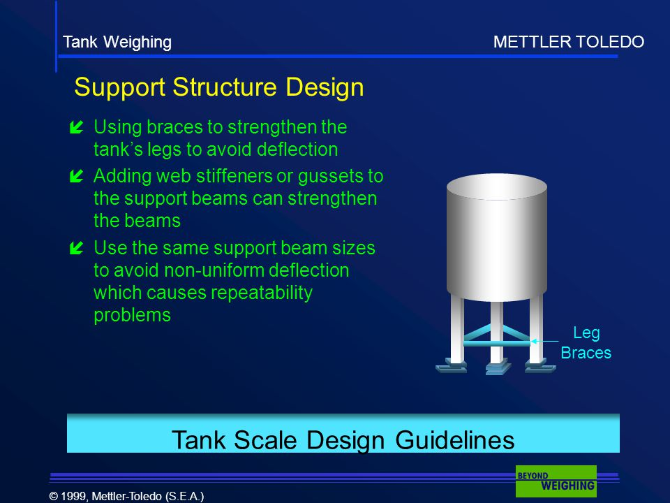 Tank Weighing METTLER TOLEDO © 1999, Mettler-Toledo (S.E.A.) Tank Scale Design Guidelines Support Structure Design  Using braces to strengthen the tank's legs to avoid deflection  Adding web stiffeners or gussets to the support beams can strengthen the beams  Use the same support beam sizes to avoid non-uniform deflection which causes repeatability problems Leg Braces