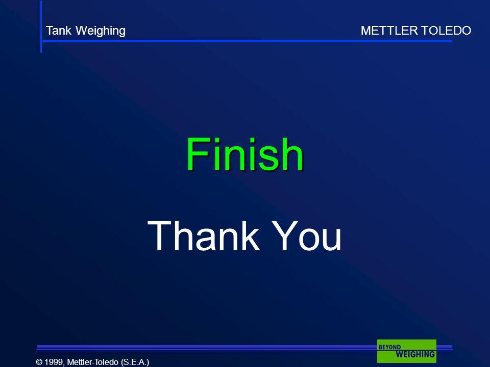 Tank Weighing METTLER TOLEDO © 1999, Mettler-Toledo (S.E.A.) Finish Thank You