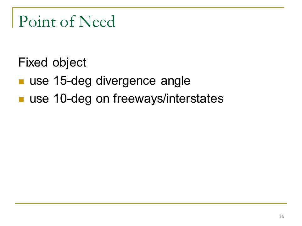 16 Point of Need Fixed object use 15-deg divergence angle use 10-deg on freeways/interstates