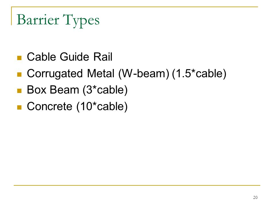 20 Barrier Types Cable Guide Rail Corrugated Metal (W-beam) (1.5*cable) Box Beam (3*cable) Concrete (10*cable)