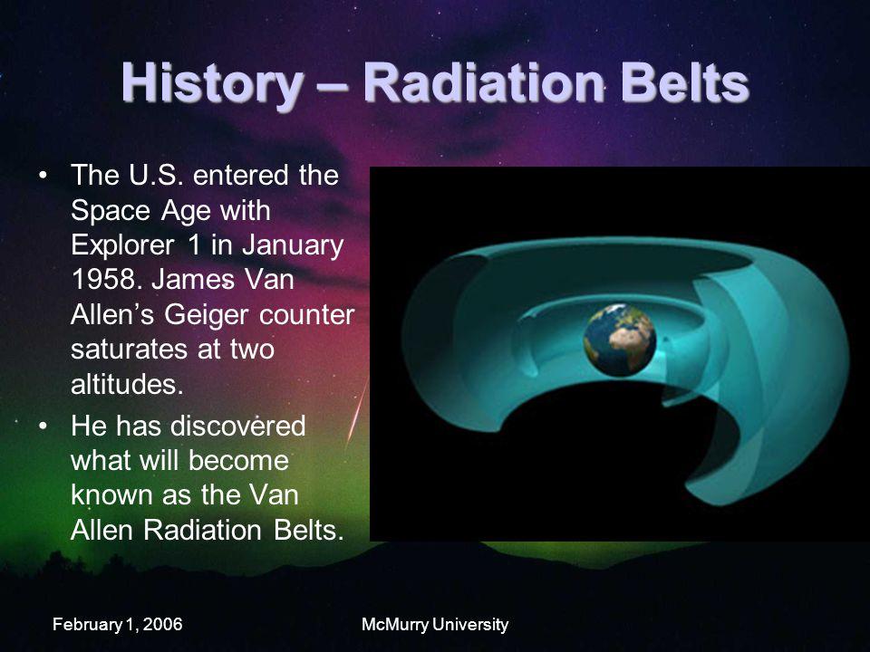 February 1, 2006McMurry University History – Radiation Belts The U.S.