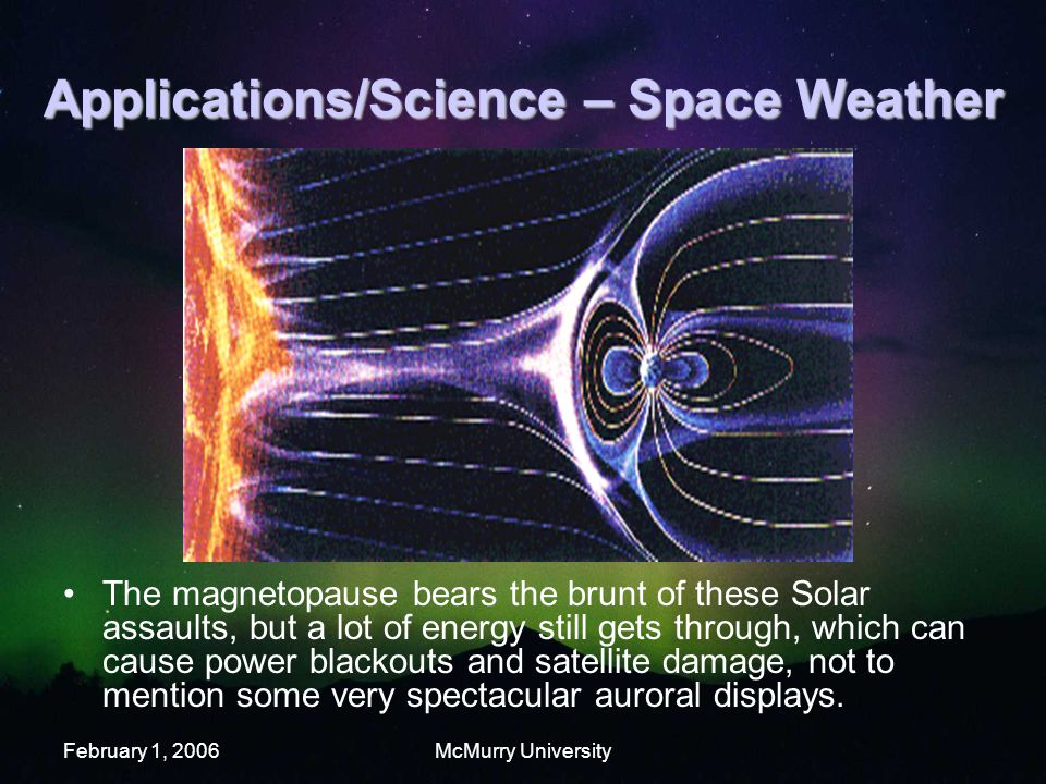 February 1, 2006McMurry University Applications/Science – Space Weather The magnetopause bears the brunt of these Solar assaults, but a lot of energy still gets through, which can cause power blackouts and satellite damage, not to mention some very spectacular auroral displays.