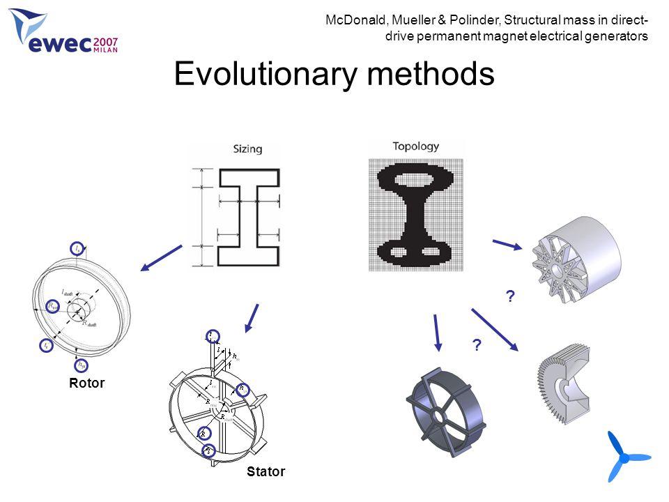 Evolutionary methods McDonald, Mueller & Polinder, Structural mass in direct- drive permanent magnet electrical generators Rotor Stator ? ?